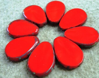 8pcs 12x18mm Red Picasso Opaque Table Cut Drops - Czech glass beads