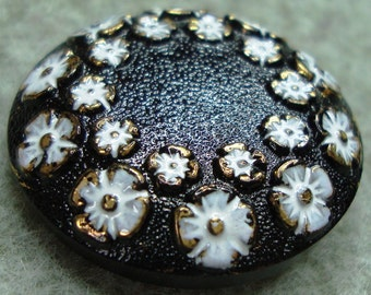 Czech Glass Button 23mm - hand painted - blossoms, black, white, gold (B23264)