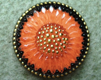 Czech Glass Cabochon 23mm - hand painted daisy - black, salmon, gold (C23053)