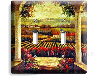 Tuscan vineyard village kitchen retro painting old rustic art decoration double light switch wall plate cover living dining room decoration