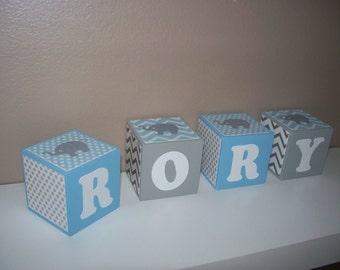 SALE Letter Blocks - Elephant Nursery Decor - Name block - Baby Blue, Grey - Polka Dots, Chevron - Shower Decoration, Boy, Personalized Name