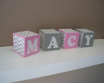 SALE Name Blocks - Pink, Grey - Chevron, Polka Dots - Wooden Blocks - Nursey Decor - Baby Shower Decoration - Baby's room -