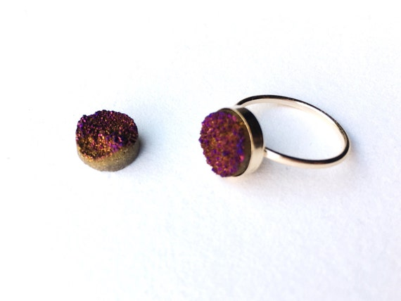 Purple and Gold Druzy Ring // 14k Gold Filled // Bridesmaid // Gifts for Her // Stocking Stuffer