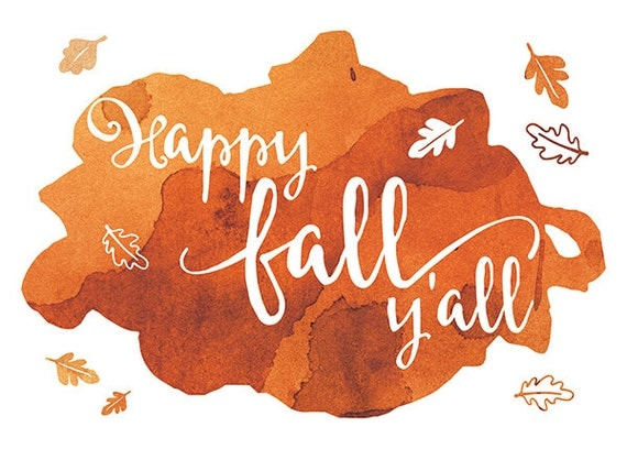 happy fall y'all // printable design // Home Decor // Orange // Art Print // Leaves // Gift