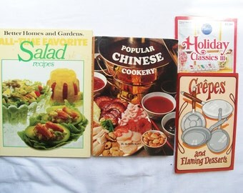 4 VINTAGE COOKBOOKS 1970s/80s Holiday Classics - Crepes - Chinese - Salads