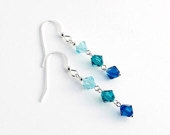 Swarovski Crystal earrings, Sterling Silver earrings, Swarovski earrings, Silver earrings, Crystal earrings, swarovski beads, blue crystal