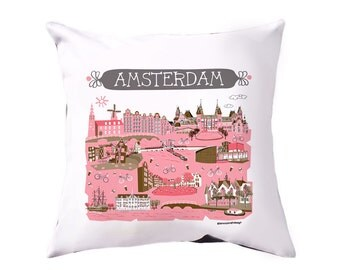 Amsterdam Pillow Cover-Home Goods-Home Decor-Pink-Brown-Dark Grey-16 x 16