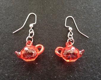 Red Clear Teapot Drop Earrings