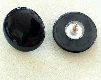 Vintage Black Onyx 20mm Round Stud Earrings