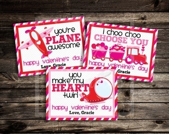 Sweet Transportation Valentine Cards- Custom Valentine's Day Digital Printable - Plane, Train, Helicopter, Pink