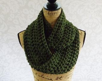 Infinity Scarf Dark Olive Green Ready To Ship Crochet Knit Women's Accessories Eternity Fall Winter