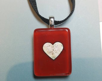 Fused Glass Red and Silver Heart Pendant