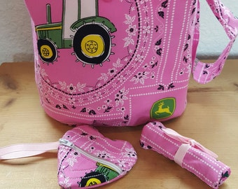 Pink tractor themed Girl's Bucket purse with matching accessories
