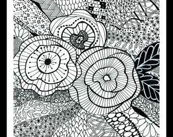Flower Doodles. Black and white print. Hand doodled.