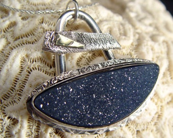 BLACK DRUZY Or DRUSY Pendant In 18k Gold and Sterling Silver One of A Kind