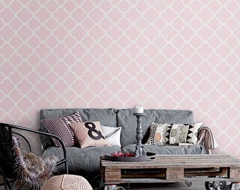 Self-adhesive pink peel and stick wall covering  Wallpaper wall sticker - Quatrefoil pattern C007