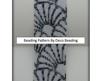 "DecoBeading Loom Beading PATTERN. DIGITAL DOWNLOAD. Bead Loom Pattern ""Scalloped Fans"" Beaded Cuff Bracelet.."