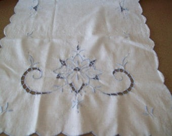 Vintage, Linen Runner, Dresser Scarf, Maderia Embroidery in Blue on White, Ready to Ship