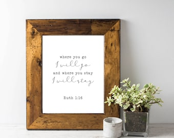 8x10 Printable Wall Art; Wedding Scripture; Ruth; INSTANT DOWNLOAD