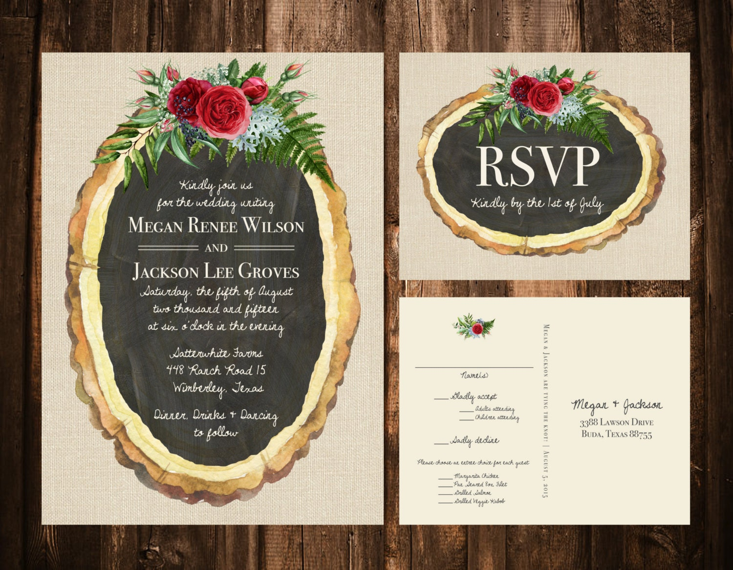 Wood Slice + Christmas Florals Wedding Invitations; Rustic, Bohemian; Holiday