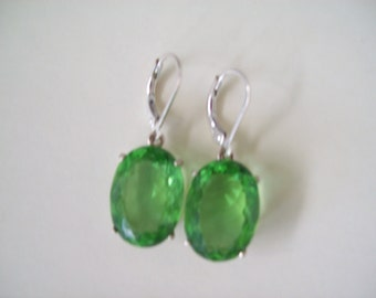 Sterling Silver Earrings - Sweet Spring Apple Green