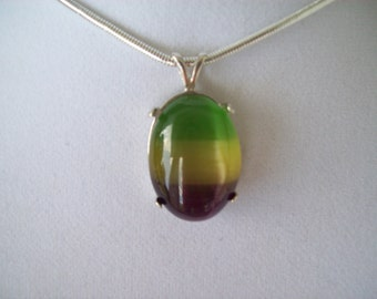 Large Multicolor Striped Cat's Eye Pendant in Sterling Silver with chain