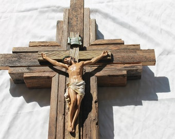 "Crucifix - Gorgeous Jesus Corpus on Large Wooden Rustic Wall Cross   33"" tall  Stained with warm wood tones"
