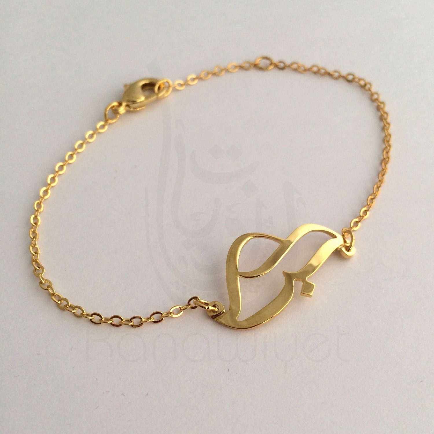Love Free Form Arabic Calligraphy Bracelet By