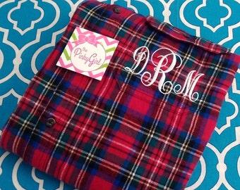 Monogrammed Flannel Plaid Shirt Bright Multi Plaid - SMALL
