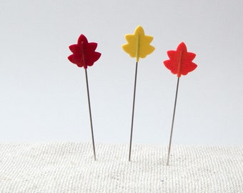 Tulip Cellulose Head  Pins - Tulip Hiroshima Needles - Tulip Momiji Pins - Maple Leaf Pins - Japanese Sewing Pins - Straight Pins -Cute pins