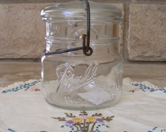 Vintage Clear Ball Glass Canning Jar (#6)