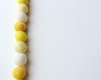 Yellow mix felt ball garland