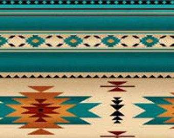 Southwestern Blanket Stripe Fabric, Turquoise, Teal Navaho Designs, Tuscon Collection, Elizabeths, 100% Cotton (By 1/2 Yard)