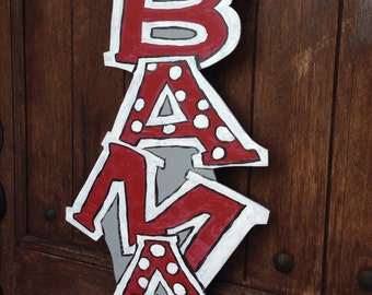 Bama door hanger in crimson, white and gray