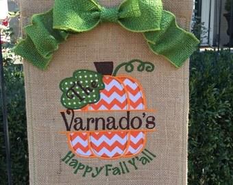 Monogrammed Pumpkin Burlap Garden Flag  Personalized with Name Fall Pumpkin