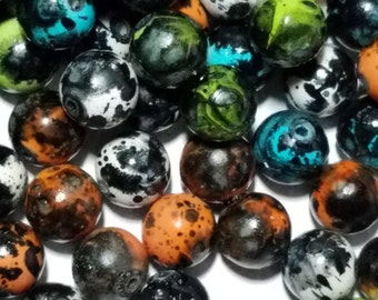 Colorful Acrylic Beads, Spray Painted and Sprinkle Style, Round, Qty 30, Mixed Color, about 12mm in diameter, hole 2mm  #075
