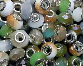 Electroplate Faceted Glass European Beads, Large Hole Beads, with Silver Plated Brass Cores, Mixed Color, 14x9.5mm, Hole: 5mm  #088