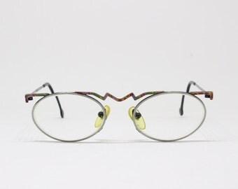 Original 90s extraordinary vintage pewter zig zag glasses. Spectacles, frames, clear lens, optical, prescription, eyeglasses