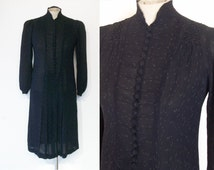 "Charming late 1920s / early 30s drop waist day dress bust 32"" w/flecked pinstripe"