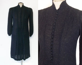 """Charming late 1920s / early 30s drop waist day dress bust 32"""" w/flecked pinstripe"""