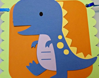 Dinosaur Happy Birthday Banner/ Boy Banner/ T Rex/ Dino Party in Orange, Lime Greens, and Blues