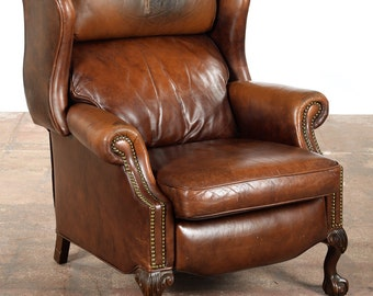 Vintage Reclining Push Back Brown Leather Chair