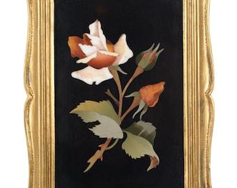 "Pietra Dura Plaque ""White Rose w/thorns"" Antique Firenze Mosaic"