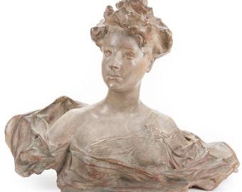 Art Nouveau Fabulous French Terracotta Bust of a Woman c.1910s-Signed