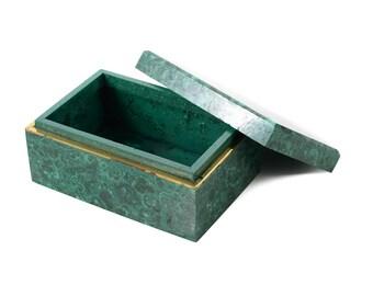 Malachite French Rectangular jewelry Box