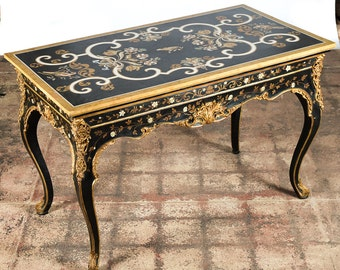 """French gilt & ebonized center table with """"Fabulous"""" specimen marble top"""