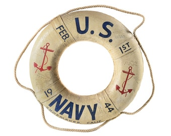WW2 Original 1944 US Navy Life Ring -w/Signatures -Rare