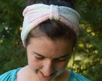 RESERVED Pastel Cotton Headband || Handknit Pink and Blue Headwrap