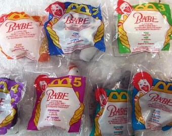 McDonald's Vintage Toys Fast Food Toys 1995 7pc Babe Plush Toys