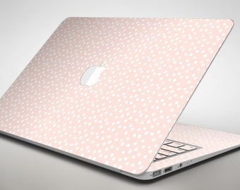 The Coral and White Micro Polka Dots - Apple MacBook Air or Pro Skin Decal Kit (All Versions Available)